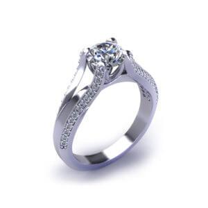 Split Diamond Engagement Ring