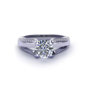 Split Diamond Engagement Ring-top