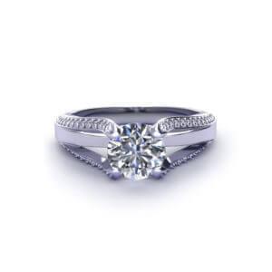 Split Diamond Engagement Ring-top