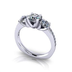 Classic Three Stone Engagement Ring-angle