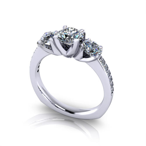 Classic Three Stone Engagement Ring-angle