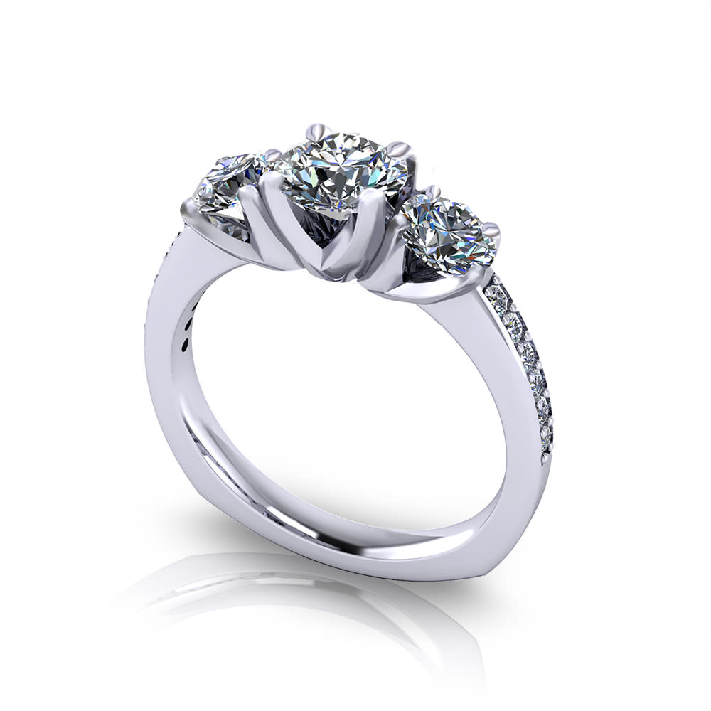 Classic Three Stone Engagement Ring Jewelry Designs