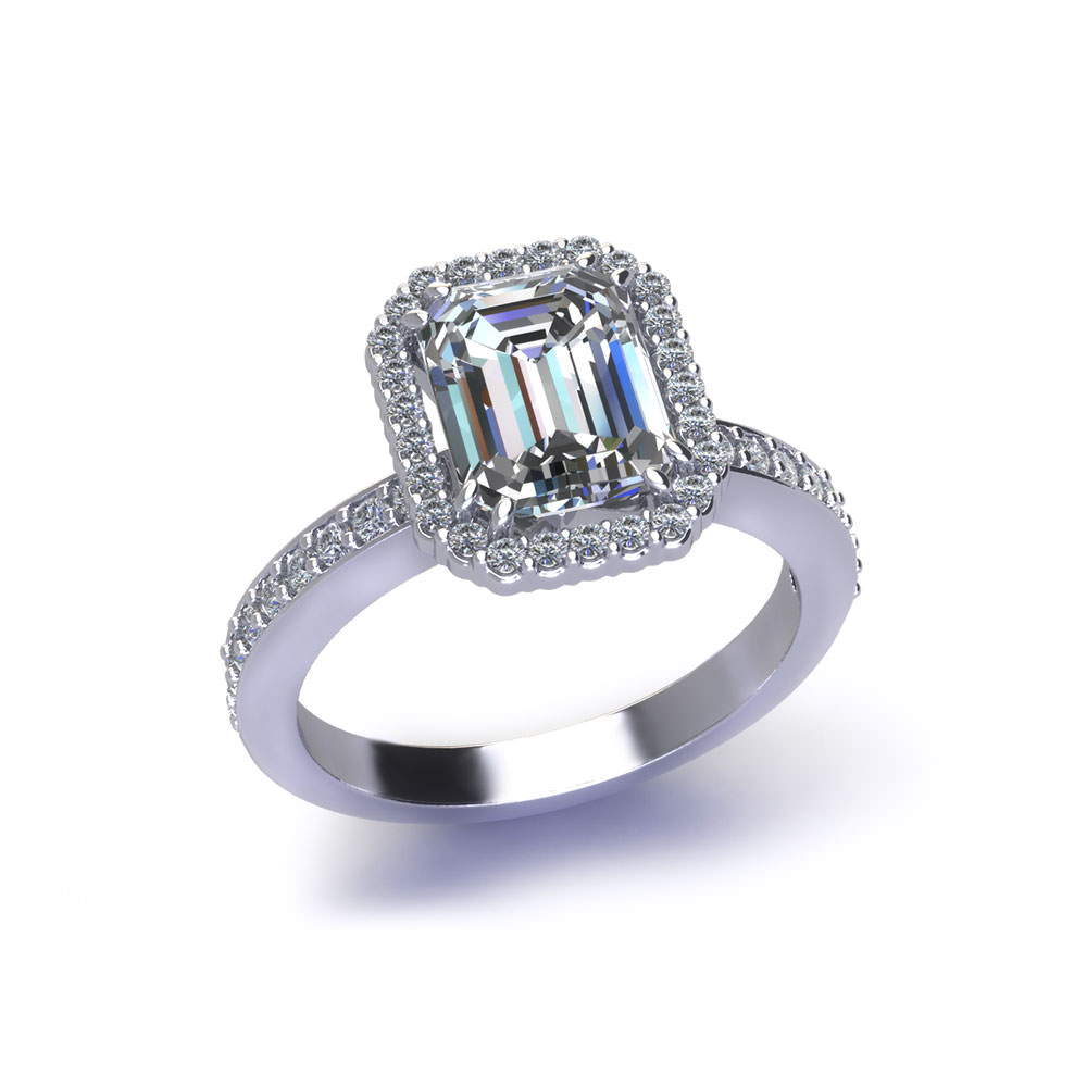Halo Emerald Cut Engagement Ring