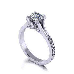 Scrolling Prong Engagement Ring