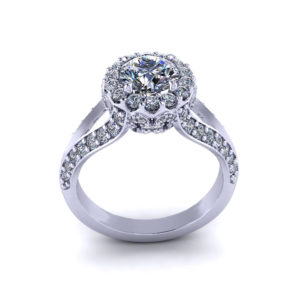 Intricate Round Halo Engagement Ring