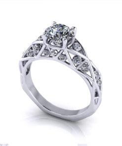 Geometric Diamond Engagement Ring