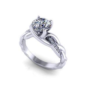 Braided Diamond Engagement Ring