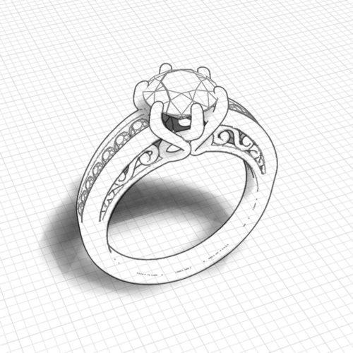 Scrolling Artisan Engagement Ring