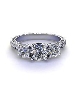 Embossed Three Diamond Ring