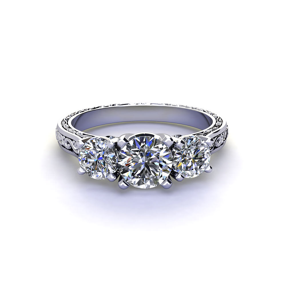 Embossed Three Diamond Ring