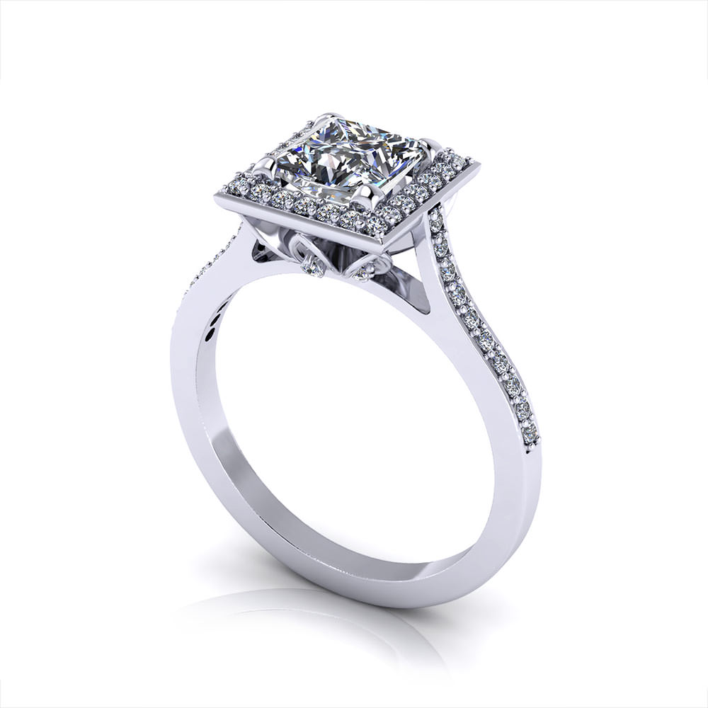 princess cut halo engagement ring jewelry designs