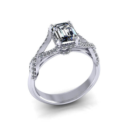Crossover Emerald Cut Engagement Ring
