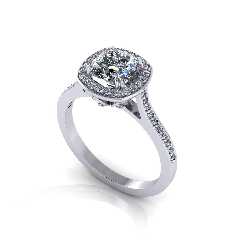 cushion halo engagement ring jewelry designs