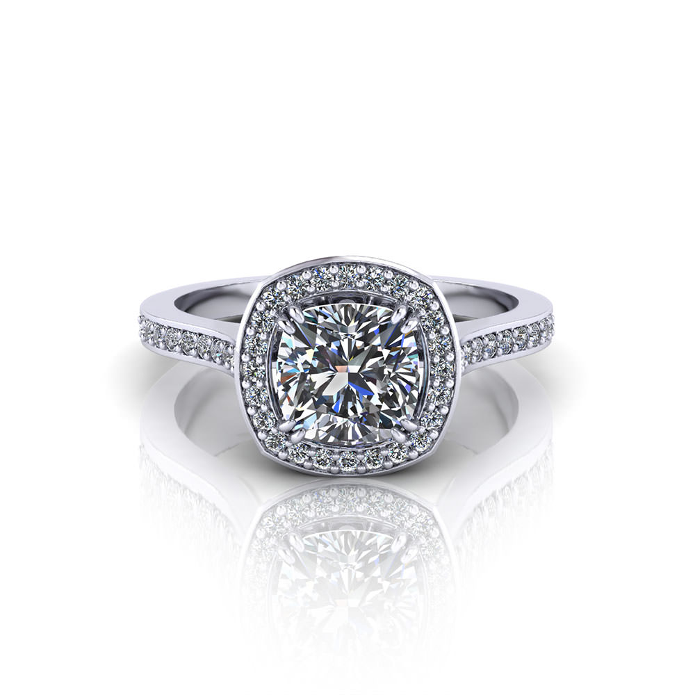 Cushion halo engagement ring jewelry designs for Design couchtisch ring