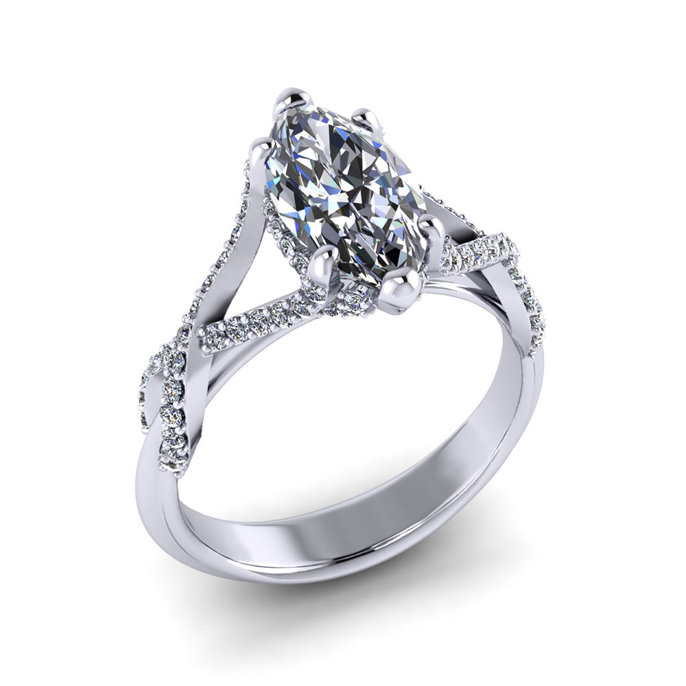Crossover Marquise Engagement Ring - Jewelry Designs
