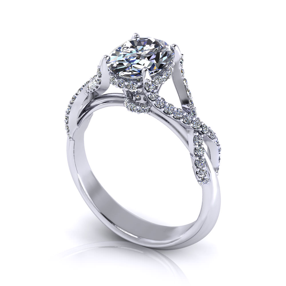 Crossover Oval Engagement Ring
