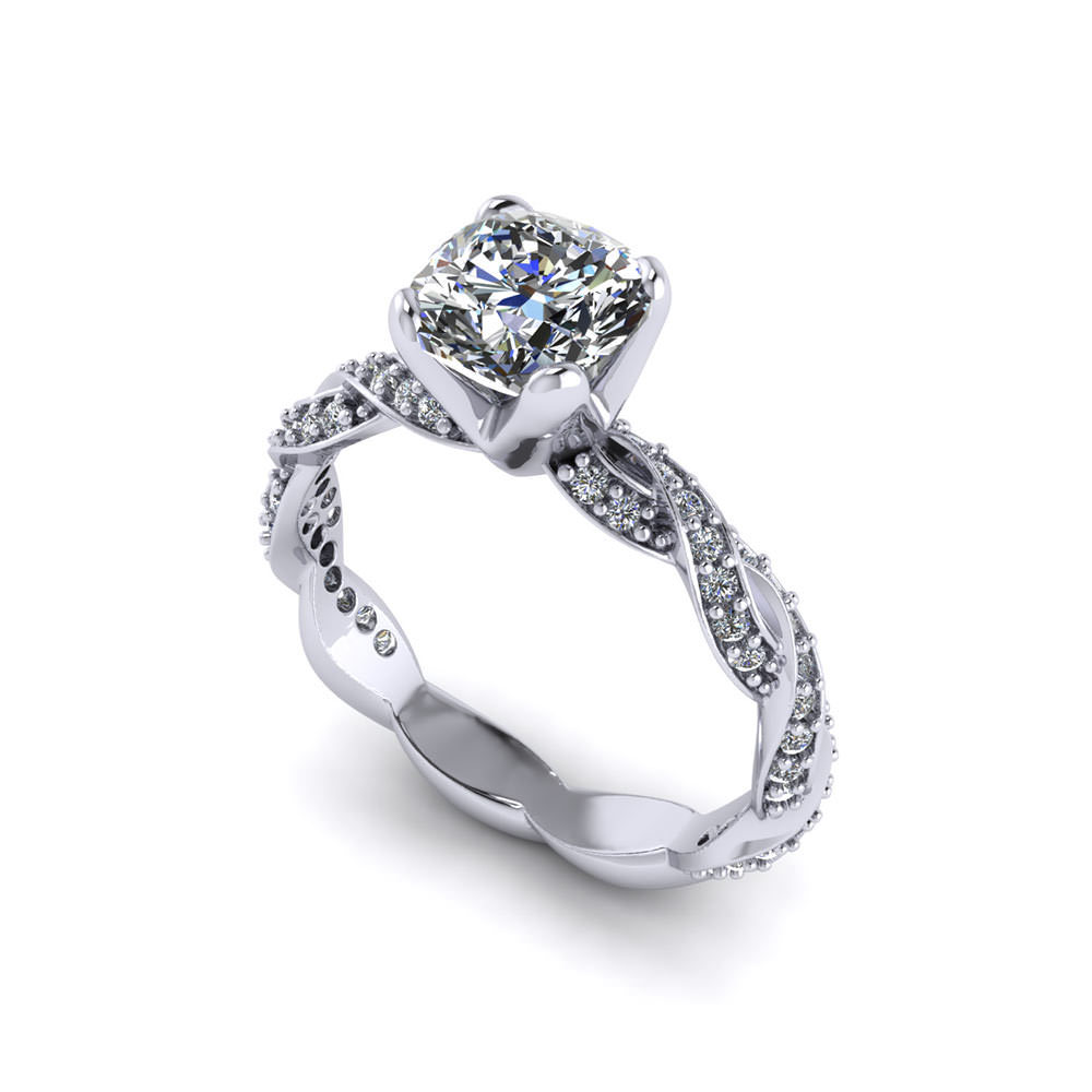 Cushion Cut Infinity Engagement Ring