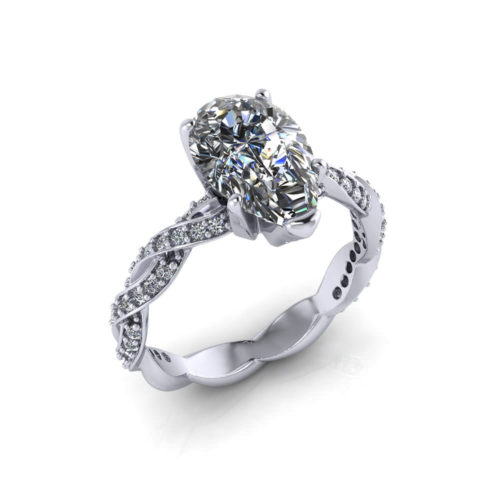 Infinity Pear Shape Engagement Ring