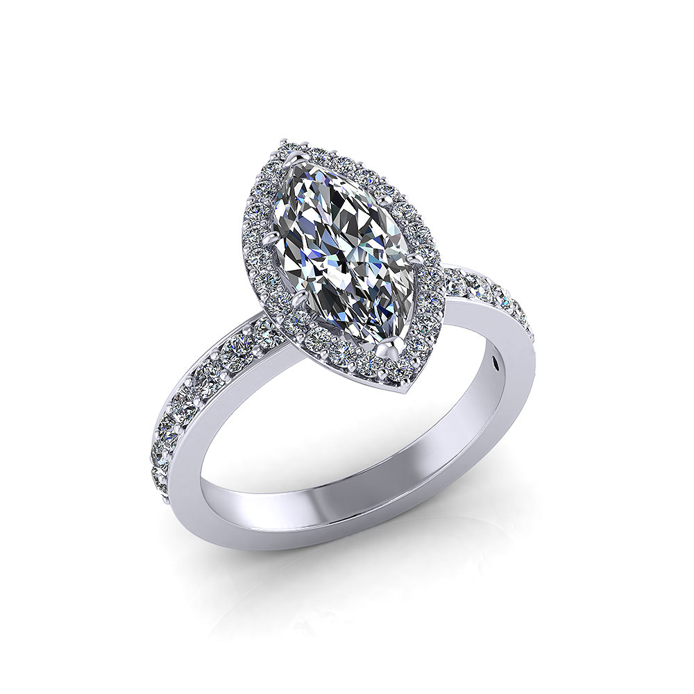 Engagement Rings Marquise: Halo Marquise Engagement Ring
