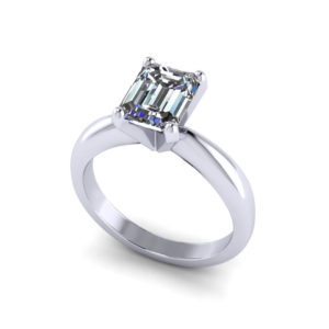 Solitaire Emerald Cut Engagement Ring