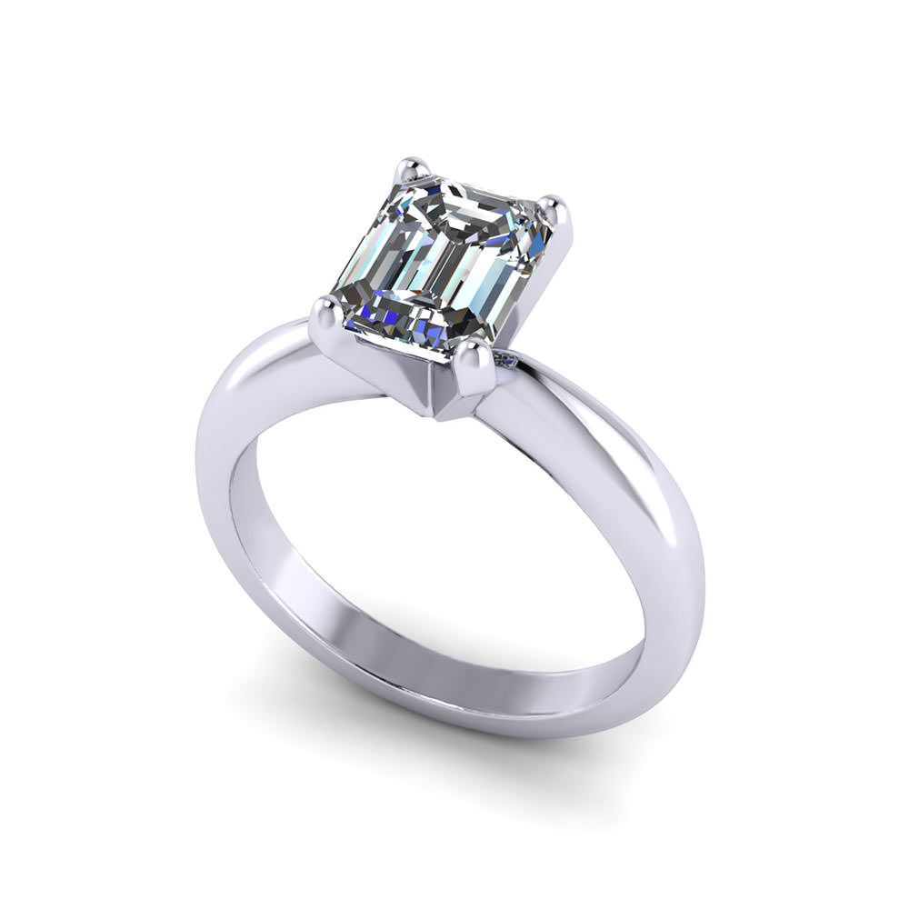 solitaire emerald cut engagement ring jewelry designs