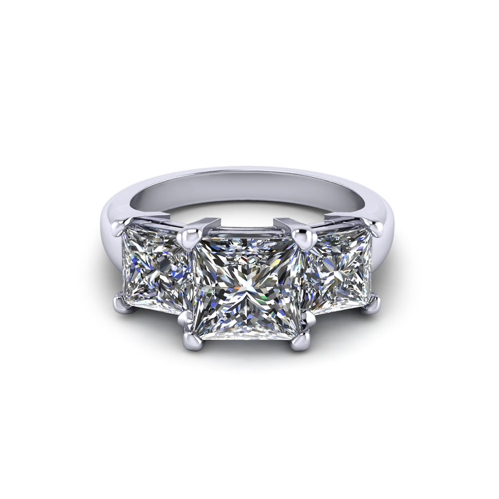 Princess Three Stone Engagement Ring