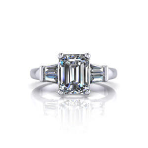 Baguette Emerald Cut Engagement Ring