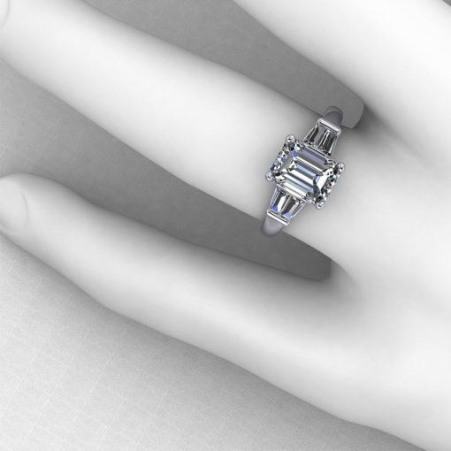Baguette Emerald Cut Engagement Ring