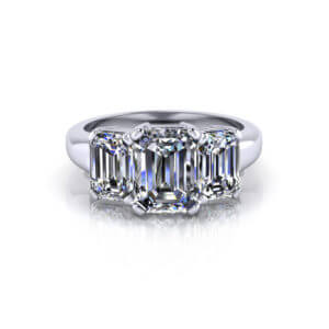 Emerald Cut 3 Stone Engagement