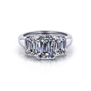 Emerald Cut 3 Stone Engagement
