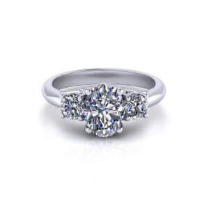 Oval 3 Stone Engagement Ring