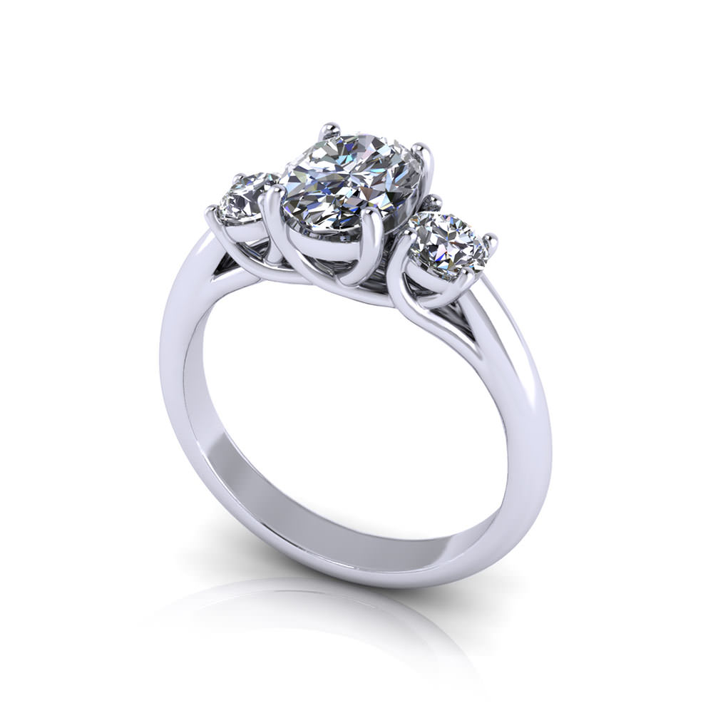 Oval 3 Stone Engagement Ring Jewelry Designs