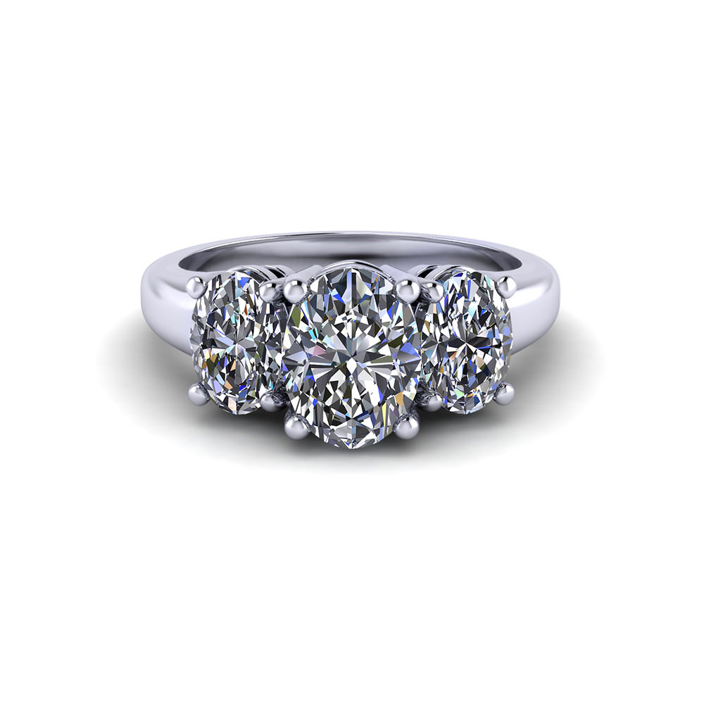 Three Stone Oval Engagement Ring Jewelry Designs