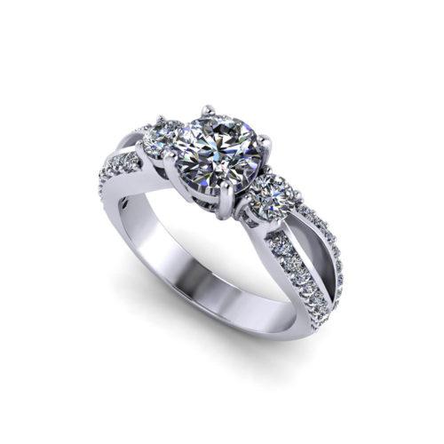 Split 3 Stone Engagement Ring