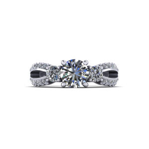 Split 3 Stone Engagement Ring