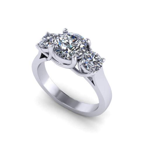 Three Stone Trellis Engagement Ring