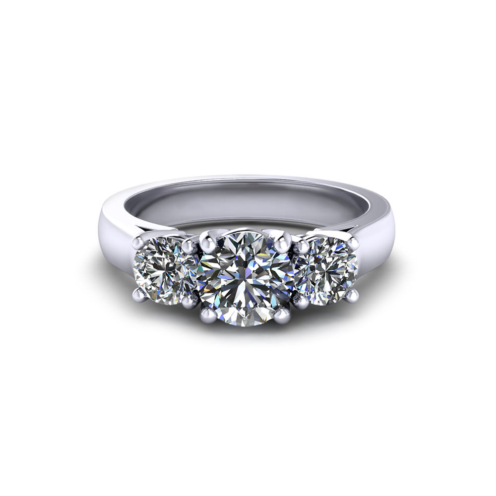 Round Three Stone Engagement Ring