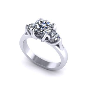 Tulip 3 Stone Engagement Ring