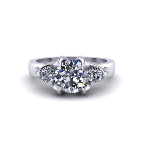 Tulip 3 Stone Engagement Ring