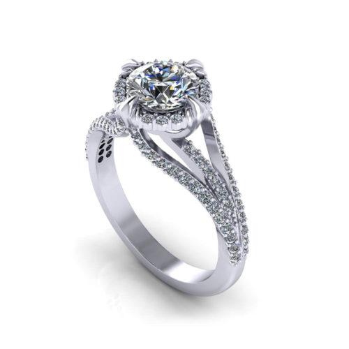 Unique Halo Engagement Ring