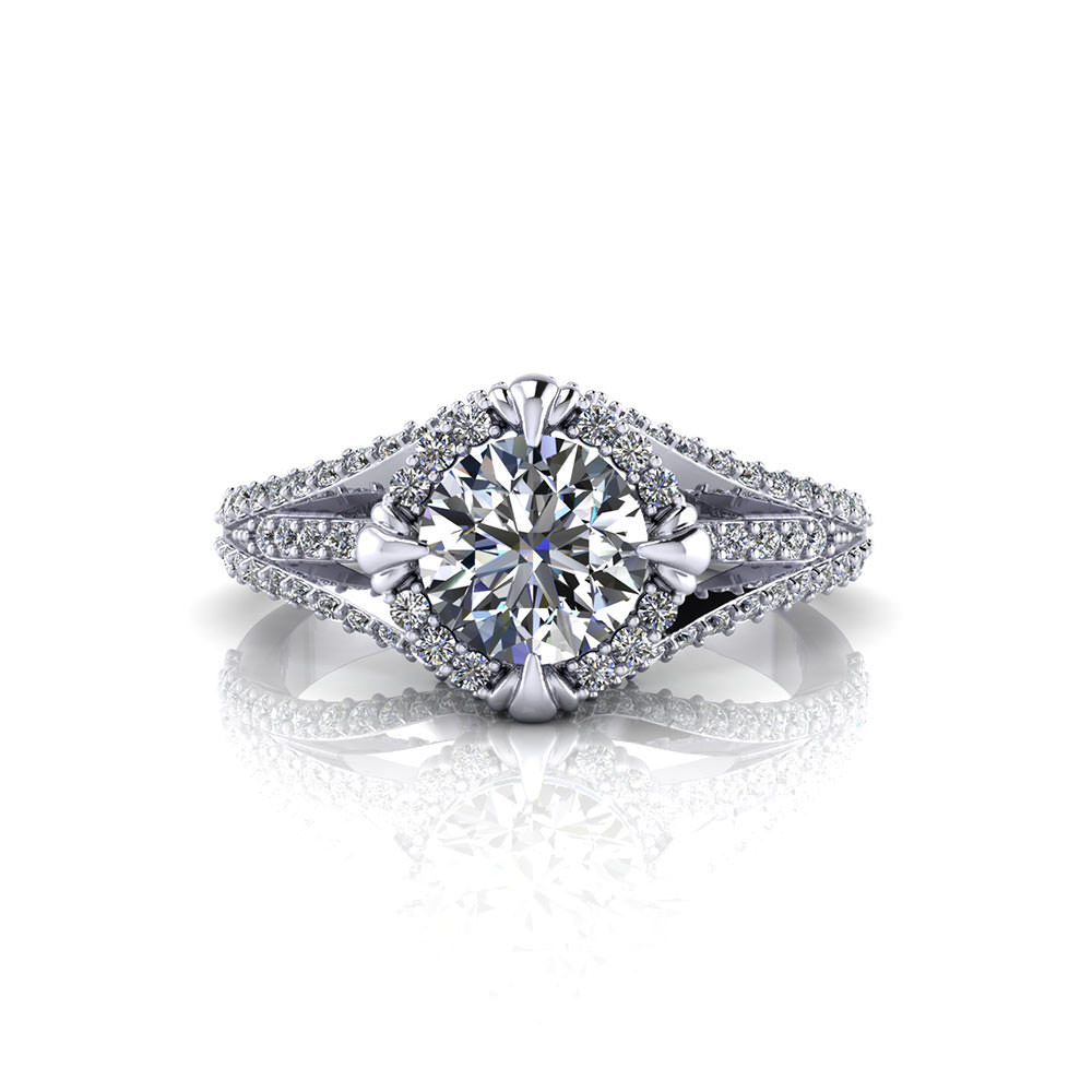 Halo Diamond Engagement Ring Gold