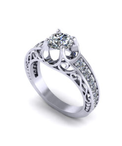 Fluted Filigree Engagement Ring