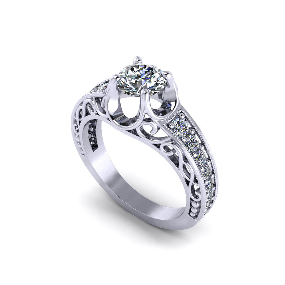ja with rose engagement filigraanisormus and ring white the timantti diamond trilogie collection filigree valkokulta gold product en trinity musta wedding black rings