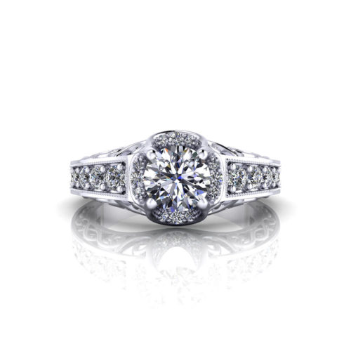 Pave Buttercup Engagement Ring