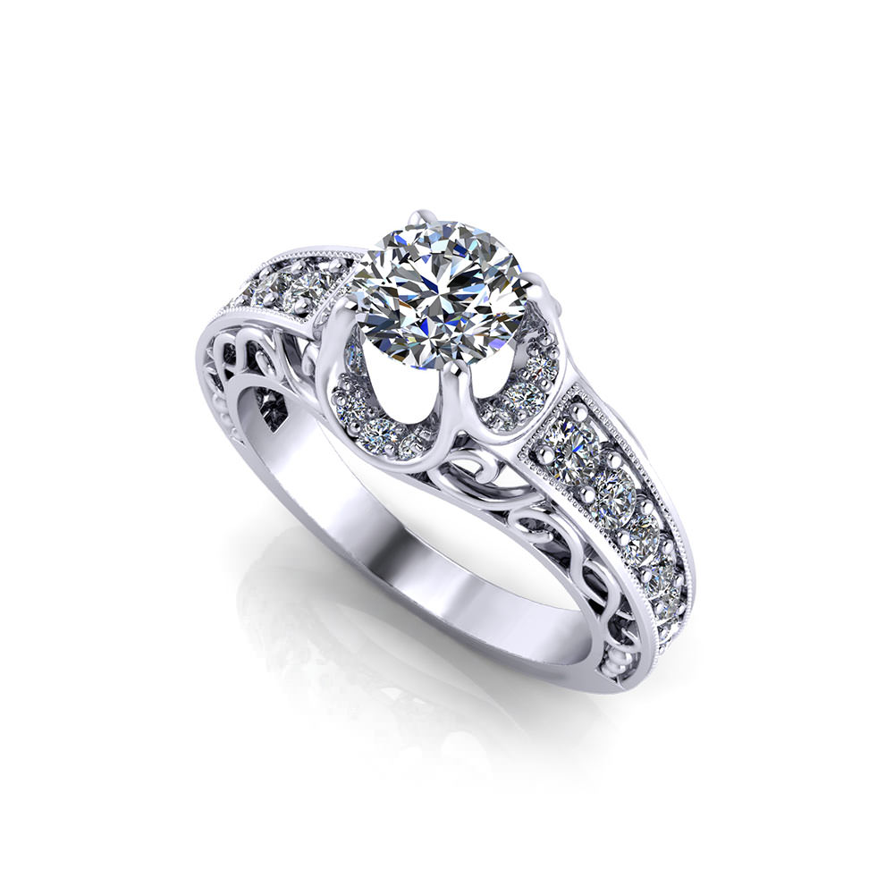 Pave Buttercup Engagement Ring Jewelry Designs