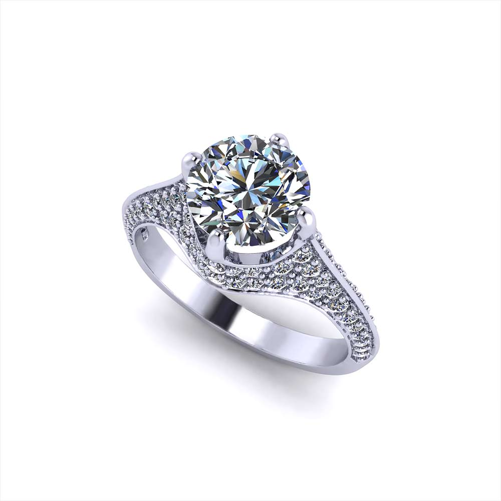 Elegant Pave Engagement Ring Jewelry Designs