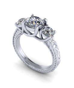 3 Stone Trellis Engagement Ring