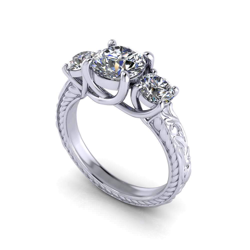 3 Stone Trellis Engagement Ring Jewelry Designs