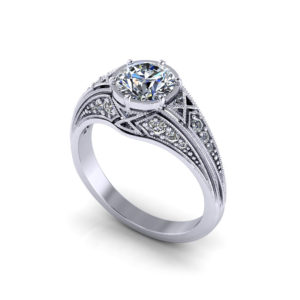 Round Filigree Engagement Ring
