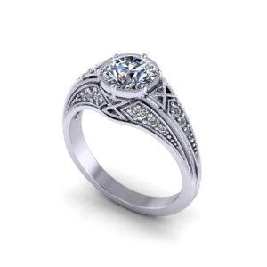 Round Filigree Engagement Ring